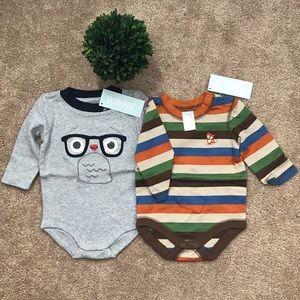 🌟🆕🌟 2 PIECE SET- Baby Boy Fox & Owl Bodysuits